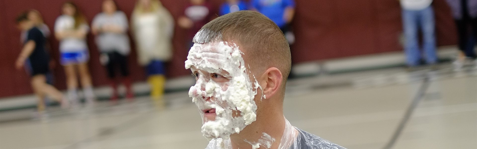 Mr. Ryan after being pied in the face by students