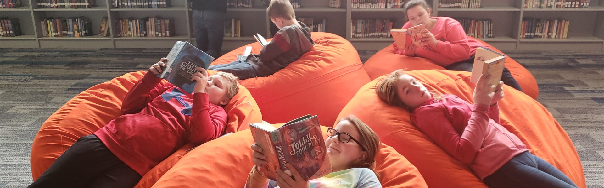 Reading and Relaxing in the bean bags.