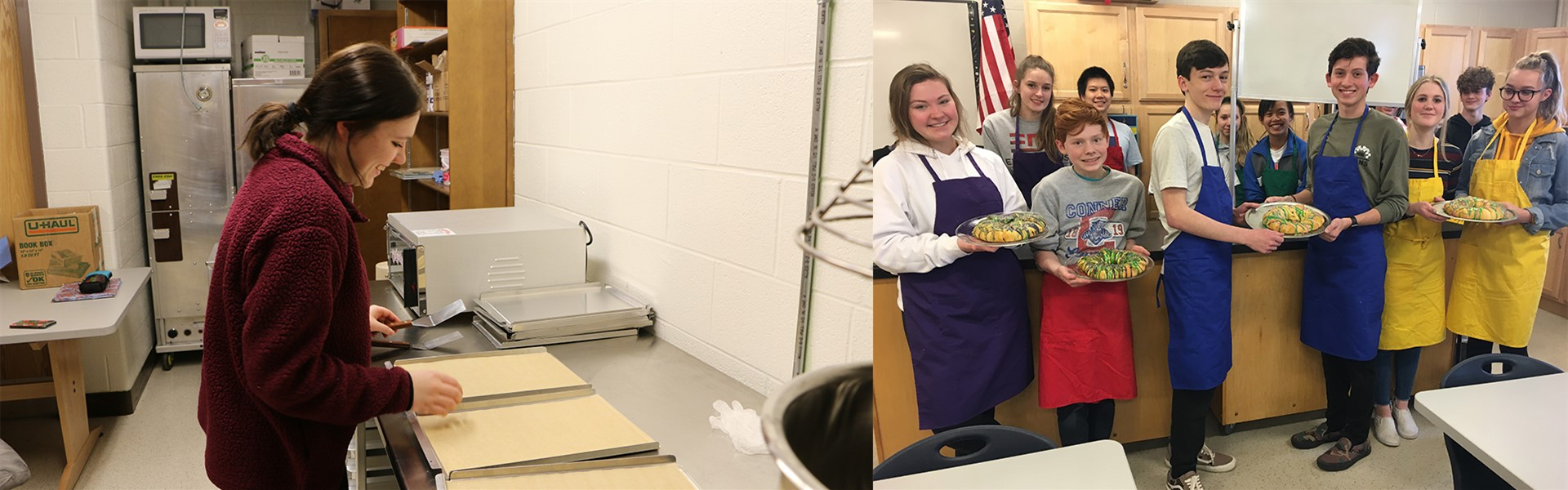 Ms. Cox's Advanced Foods & Nutrition make King Cake after learning about the culture and cuisine of New Orleans/Louisiana