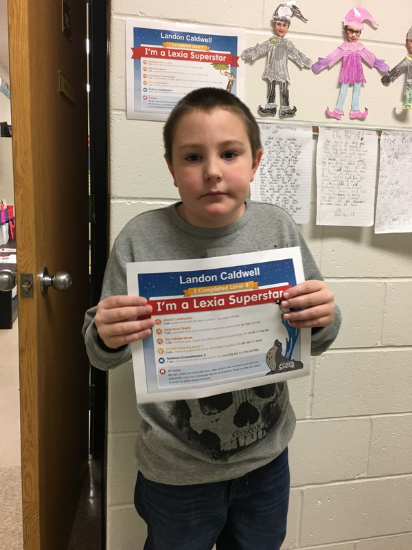 Landon has mastered 2 levels of Lexia in just a very short amount of time! Way to go!!