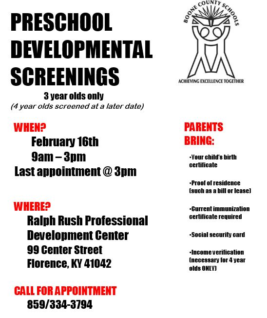 Preschool Developmental Screenings