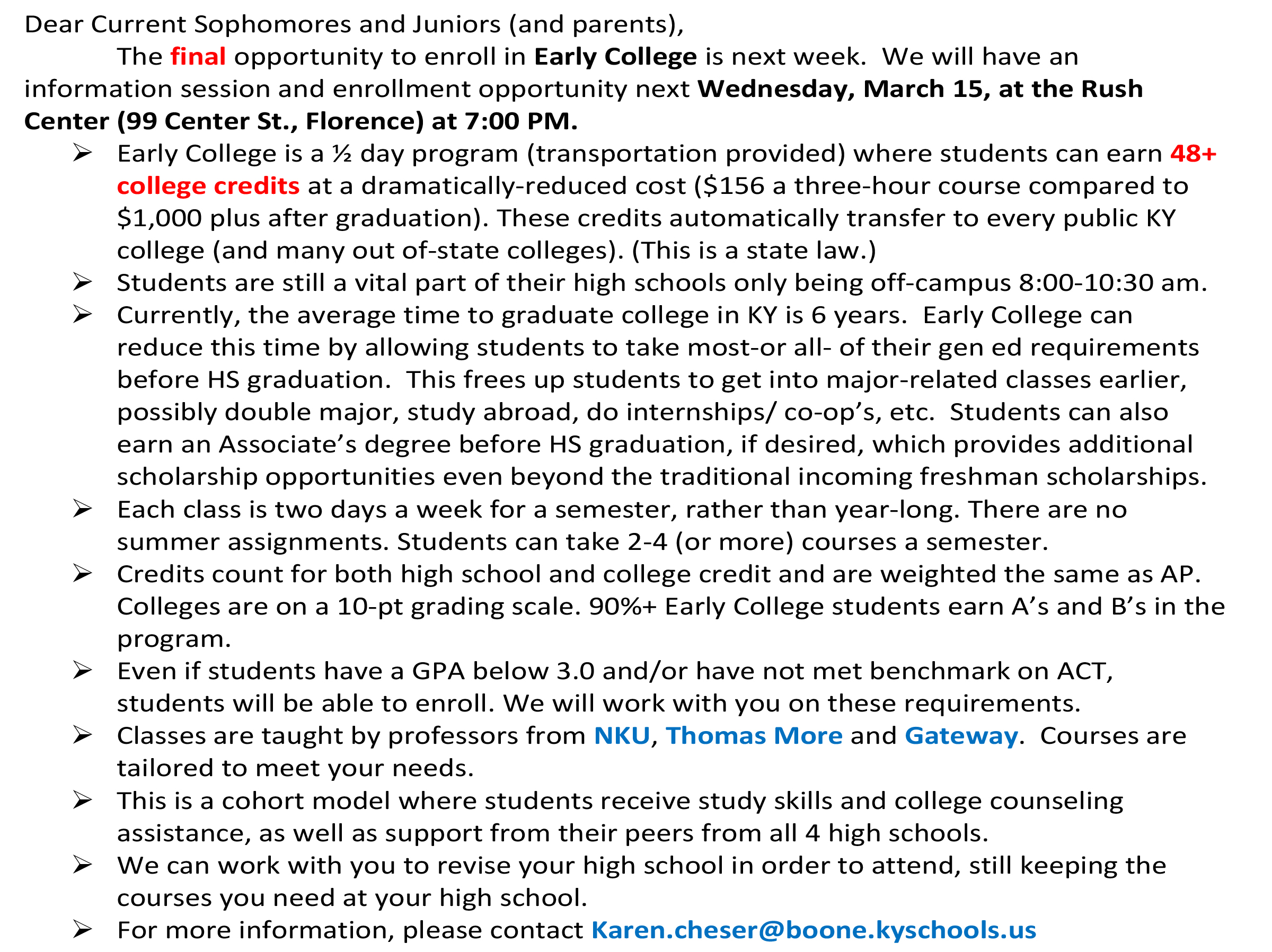 early college info