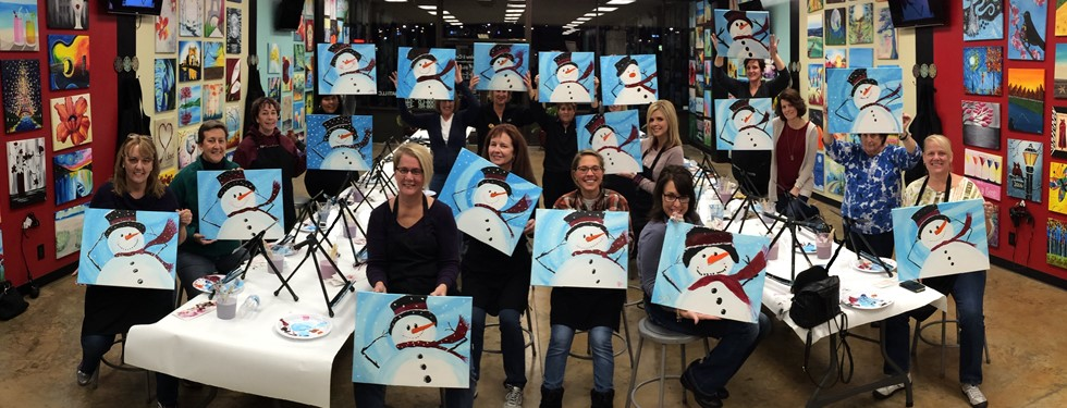GMS Staff painting a snowman for a little fun .
