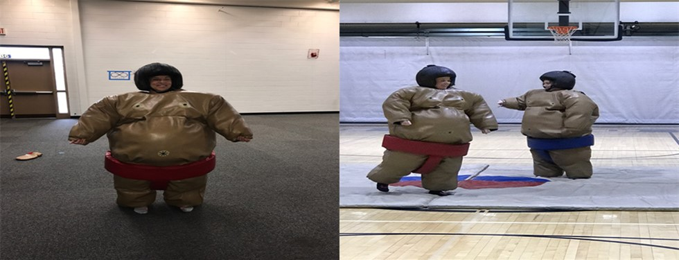 Mrs. Gray, Mrs. Swinehart, and Ms. Croft getting into the sumo wrestling.