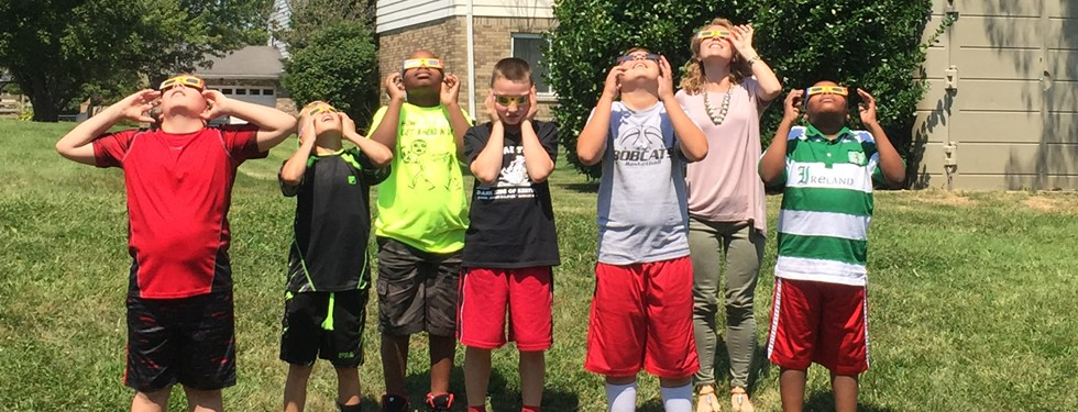 viewing the solar eclipse with Ms Anderson