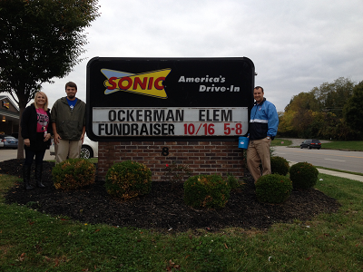 Mrs. Best, Mr. Jackson, and Mr. Ritzi at Sonic for our fundraiser!